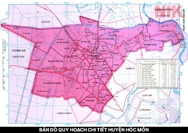 Tổng quan bản đồ quy hoạch chi tiết huyện hóc môn