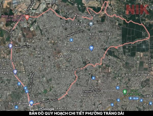 Bản đồ quy hoạch chi tiết phường Trảng Dài qua vệ tinh
