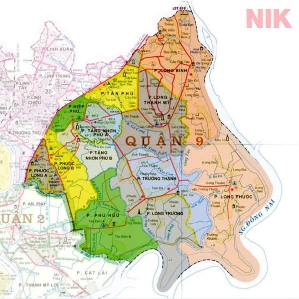 Bản đồ quy hoạch chi tiết quận 9 với chi tiết các phường, kênh rạch