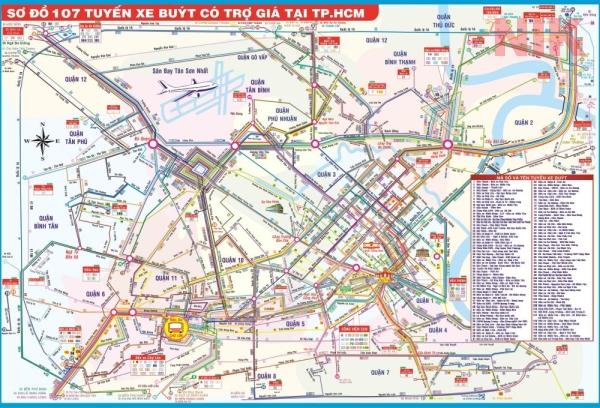 Sơ đồ 107 tuyến xe buýt có trợ giá tại TPHCM, đi qua quận 9 trong bản đồ quy hoạch chi tiết quận 9