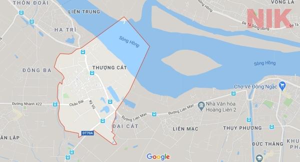 Bản đồ chỉ dẫn về 4 con đường mở mới tại phường Thượng Cát, quận Bắc Từ Liêm