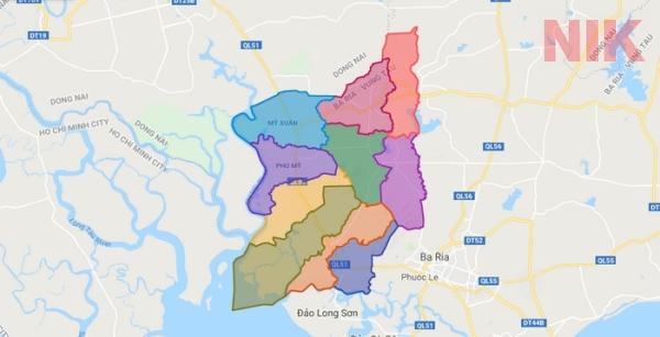 Bản đồ hành chính thị xã phú Mỹ - Bà rịa - Vũng Tàu