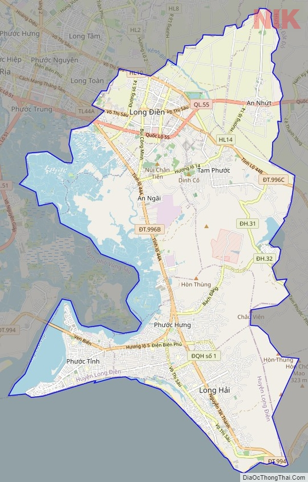 Bản đồ hành chính huyện Long Điền