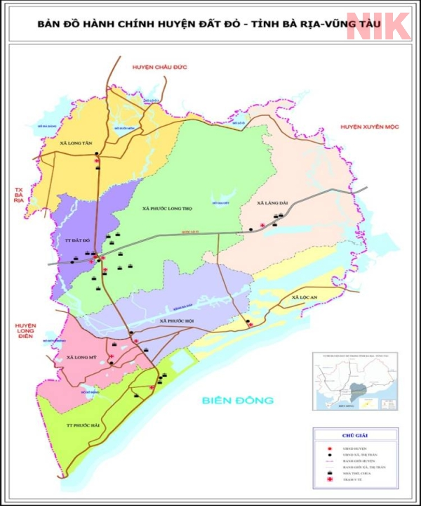 Bản đồ hành chính huyện Đất Đỏ