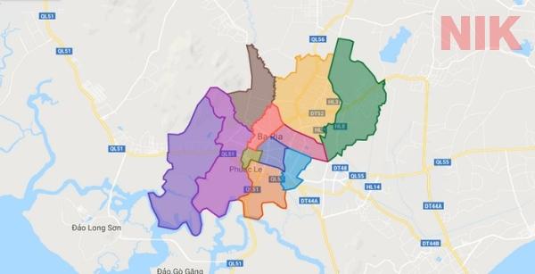 Bản đồ hành chính thành phố Bà Rịa - Bản đồ quy hoạch chi tiết tp Vũng Tàu