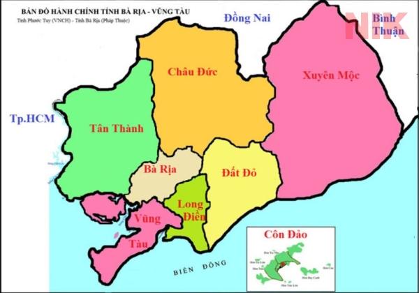 Bản đồ hành chính tỉnh Bà Rịa – Vũng Tàu
