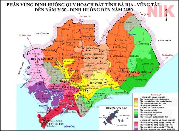 Phân vùng định hướng quy hoạch Bà Rịa - Vũng Tàu