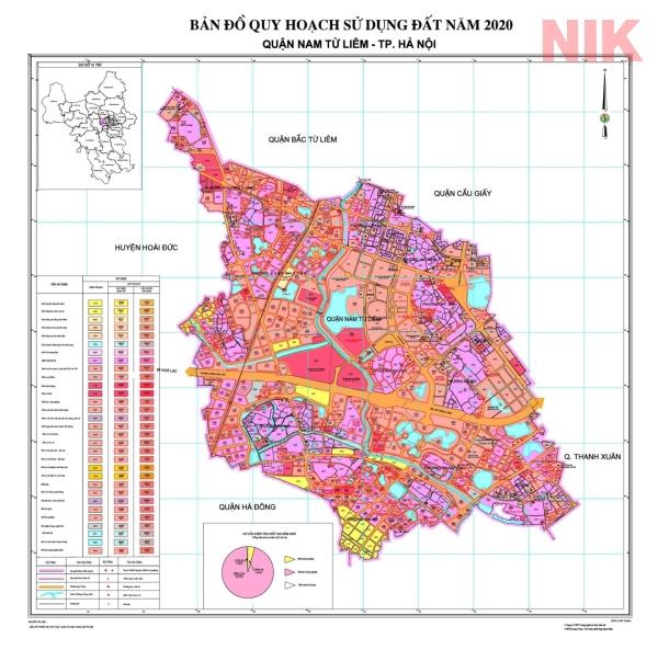 Bản đồ quy hoạch sử dụng đất Hà Nội tại Nam Từ Liêm