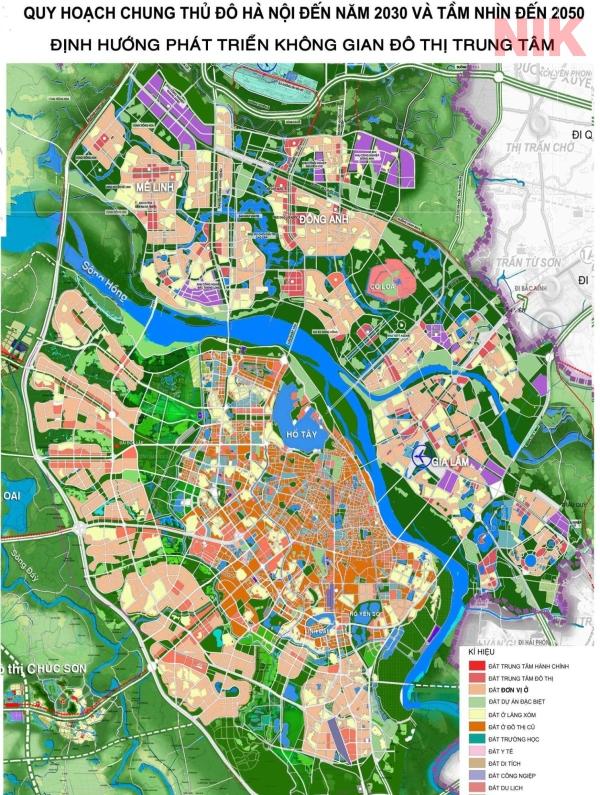 Bản đồ quy hoạch sử dụng đất Hà Nội tới 2030