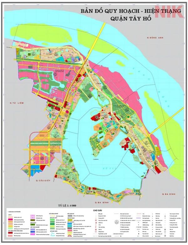 Bản đồ quy hoạch sử dụng đất Hà Nội tại Tây Hồ