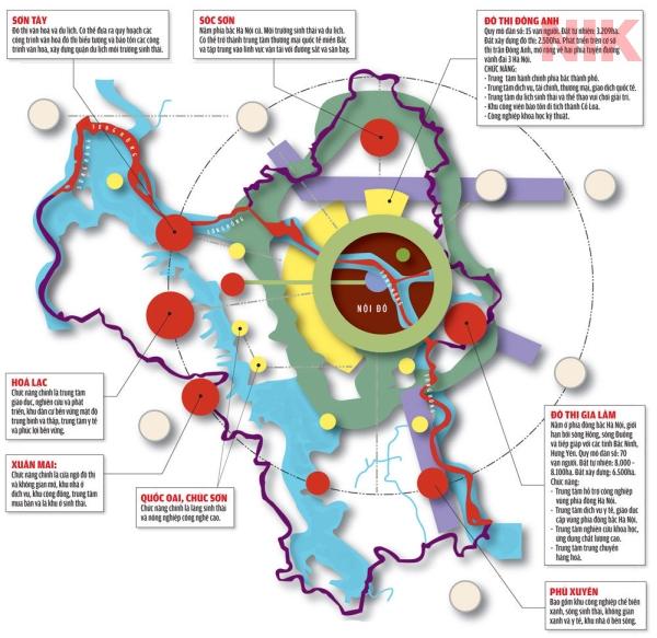 Bản đồ quy hoạch sử dụng đất Hà Nội qua vệ tinh