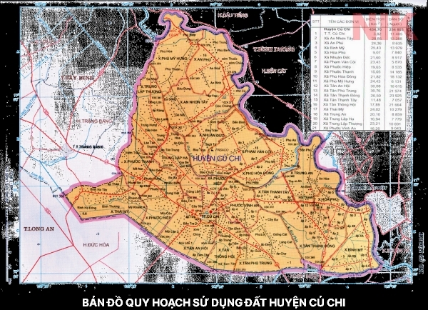 Bản đồ quy hoạch sử dụng đất huyện Củ Chi