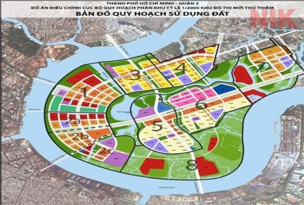 Bản đồ quy hoạch sử dụng đất Thủ Thiêm tại khu đô thị