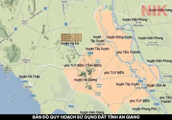 Bản đồ quy hoạch sử dụng đất tỉnh An Giang về hành chính