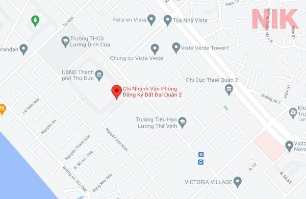 Định vị địa chỉ chi nhánh văn phòng đăng ký đất đai quận 2