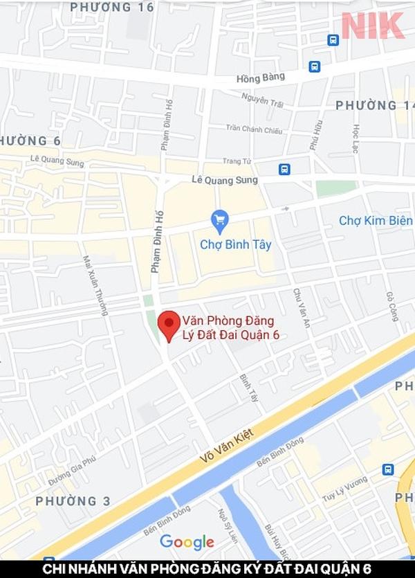 Định vị địa chỉ chi nhánh văn phòng đăng ký đất đai quận 6