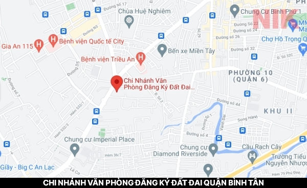 Định vị địa chỉ chi nhánh văn phòng đăng ký đất đai quận Bình Tân