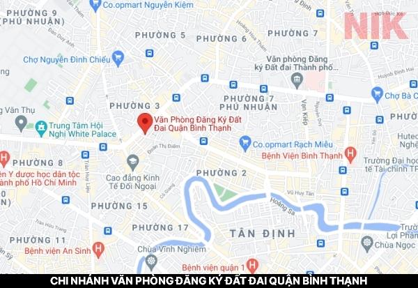 Định vị địa chỉ chi nhánh văn phòng đăng ký đất đai quận Bình Thạnh