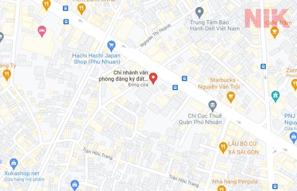 Định vị địa chỉ chi nhánh văn phòng đăng ký đất đai quận Phú Nhuận