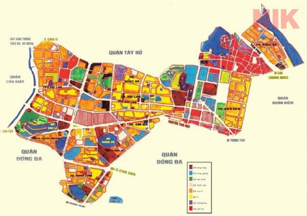 Bản đồ quy hoạch chi tiết quận Ba Đình với 14 đơn vị hành chính
