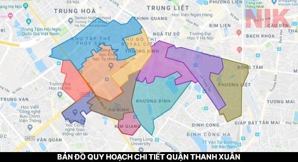 Bản đồ quy hoạch chi tiết quận Thanh Xuân, Hà Nội