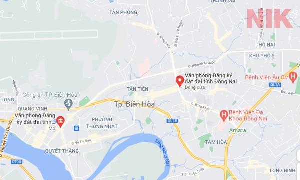 Định vị địa chỉ văn phòng đăng ký đất đai Đồng Nai