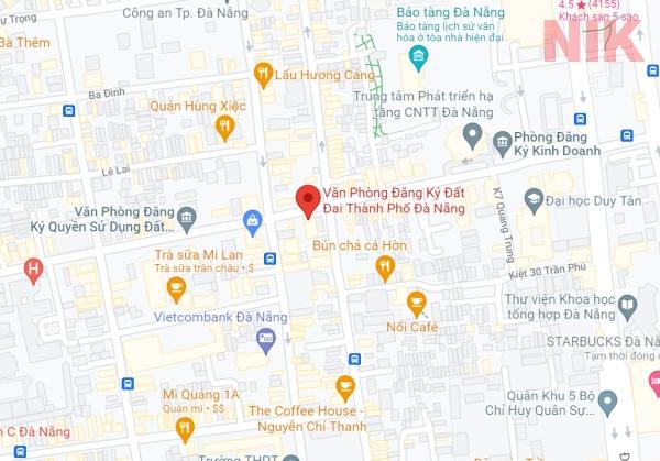 Định vị địa chỉ văn phòng đăng ký đất đai Đà Nẵng