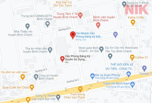 Định vị địa chỉ văn phòng đăng ký đất đai huyện Bình Chánh