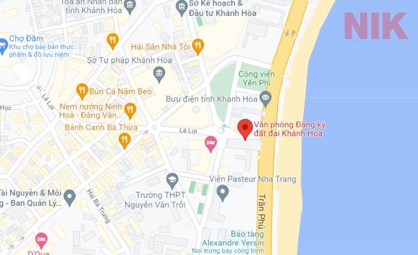 Định vị địa chỉ văn phòng đăng ký đất đai Khánh Hòa