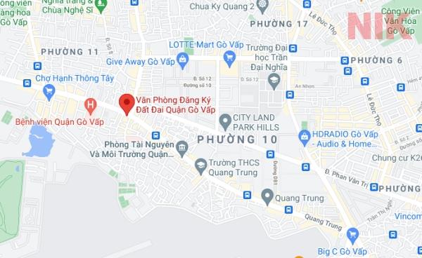 Định vị địa chỉ chi nhánh văn phòng đăng ký đất đai quận Gò Vấp