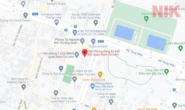 Định vị địa chỉ văn phòng đăng ký đất đai quận Nam Từ Liêm