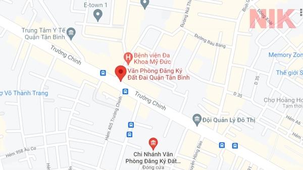 Định vị địa chỉ văn phòng đăng ký đất đai quận Tân Bình