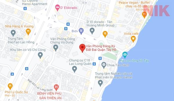 Định vị địa chỉ văn phòng đăng ký đất đai quận Tây Hồ