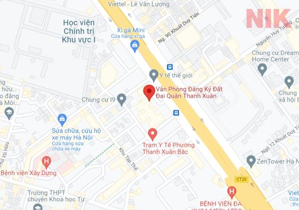 Định vị địa chỉ văn phòng đăng ký đất đai quận Thanh Xuân