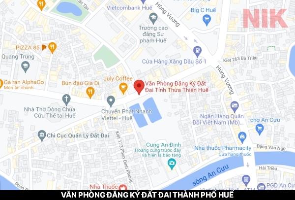 Định vị địa chỉ văn phòng đăng ký đất đai thành phố Huế