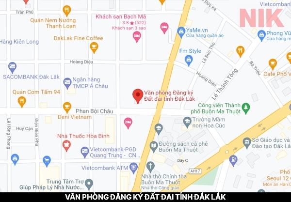Định vị địa chỉ văn phòng đăng ký đất đai tỉnh Đắk Lắk