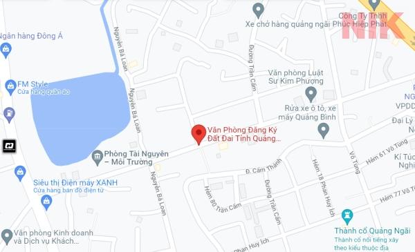 Định vị địa chỉ văn phòng đăng ký đất đai tỉnh Quảng Ngãi