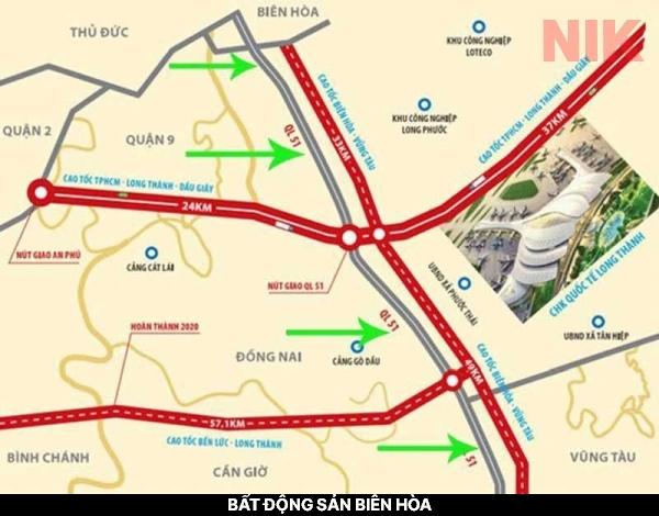 Tuyến đường xe cao tốc Biên Hòa – Vũng Tàu thuộc bất động sản biên hòa